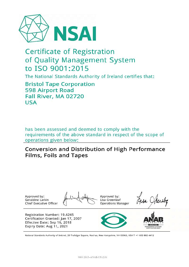 Bristol Tape ISO 9000:2015