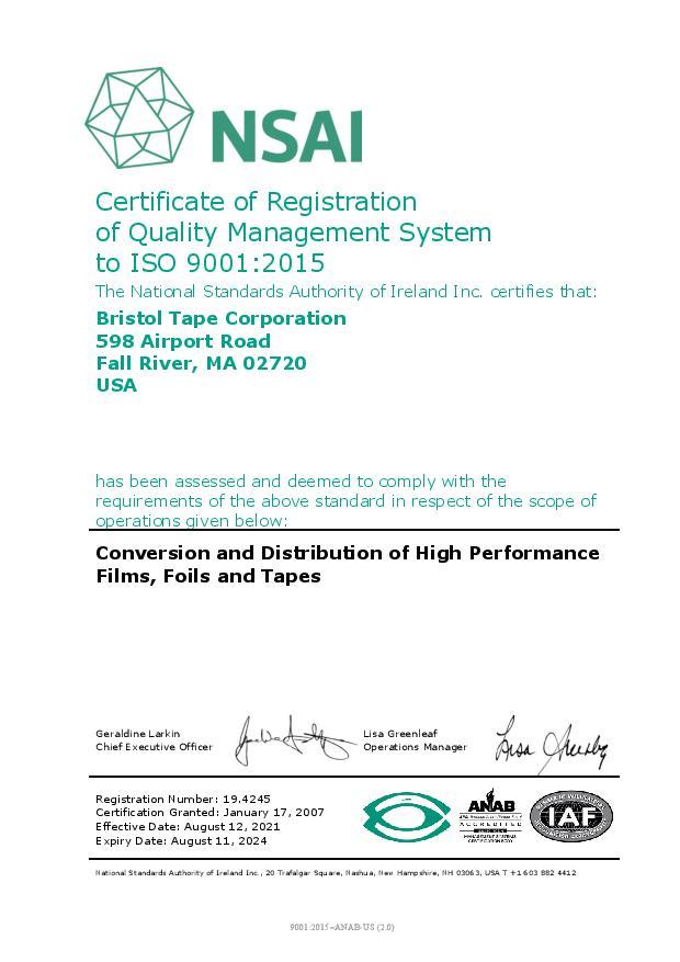 ISO 9001:2015 Certification for Bristol Tape